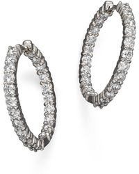 Roberto Coin - 18k White Gold Diamond Inside-out Hoop Earrings - Lyst