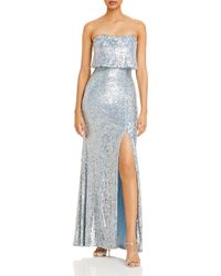 Aqua Sequined Strapless Overlay Gown - Blue