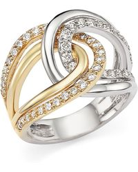 Bloomingdale's - Diamond Two-tone Crossover Ring In 14k White And Yellow Gold, .65 Ct. T.w. - Lyst