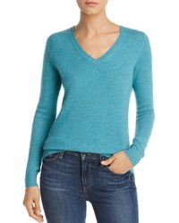 C By Bloomingdale's V - Neck Cashmere Sweater - Blue