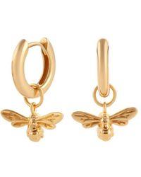Olivia Burton Lucky Bee Charm Hoop Earrings - Metallic