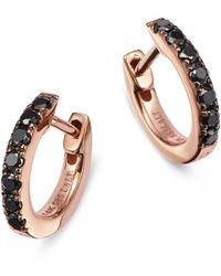 Bloomingdale's Black Diamond Huggie Hoop Earrings In 14k Rose Gold - Multicolour