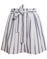 BCBGMAXAZRIA Striped Paperbag Shorts - Blue