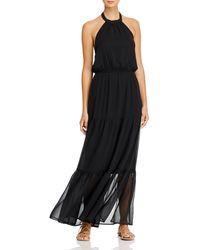 Aqua Halter Maxi Dress - Black