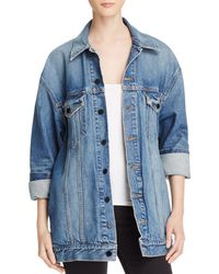 T By Alexander Wang Daze Denim Jacket In Light Indigo Aged - Blue