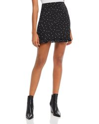 Aqua Heart Print Mini Skirt - Black