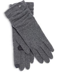 Echo Ruched Cuff Touch Glove - Grey