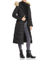 T Tahari Jacqueline Faux Fur Trim Maxi Puffer Coat - Black