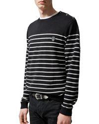 The Kooples Happy Skull Striped Sweater - Black