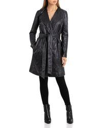 Bagatelle - Textured Leather Wrap Coat - Lyst