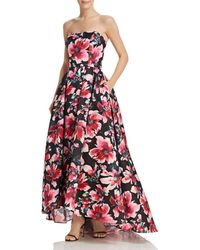 Aqua - Strapless Floral Ball Gown - Lyst