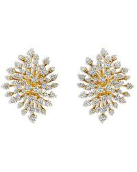 Hueb 18k Yellow Gold Luminus Diamond Starburst Cluster Drop Earrings - Metallic