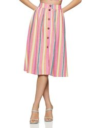BCBGeneration Button Front Midi Skirt - Pink