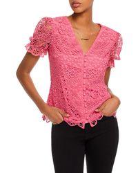 Aqua Puff - Sleeve Lace Top - Pink