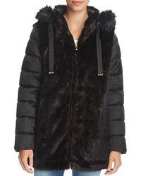 Via Spiga - Mixed Media Faux Fur & Puffer Coat - Lyst