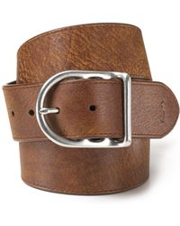 Ralph Lauren | Polo Distressed Leather Belt With Dull Nickle Centerbar Buckle | Lyst