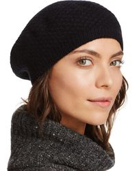 C By Bloomingdale's Waffle Knit Cashmere Beret - Black