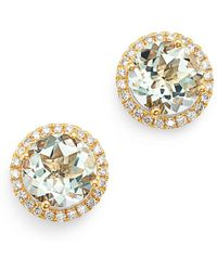Kiki McDonough - 18k Yellow Gold Grace Round Green Amethyst & Diamond Earrings - Lyst