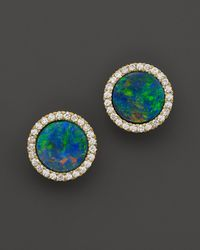 Meira T - 14k Yellow Gold Blue Opal And Diamond Stud Earrings - Lyst