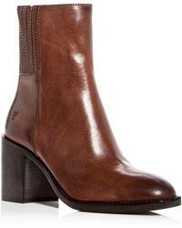 Frye - Women's Pia Leather High Block Heel Booties - Lyst