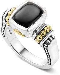 Lagos - 18k Gold And Sterling Silver Caviar Color Small Onyx Small Ring - Lyst