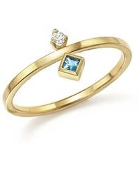 Zoe Chicco - 14k Yellow Gold Wire Ring With Stacked Aquamarine And Diamond - Lyst