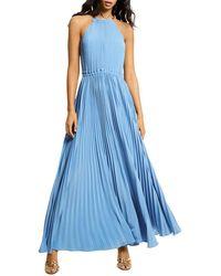 MICHAEL Michael Kors Pleated Chain Neck Halter Dress - Blue