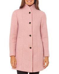 Kate Spade Stand - Collar Textured Coat - Pink