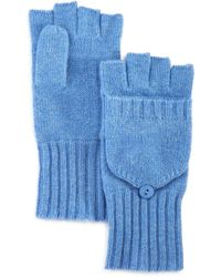C By Bloomingdale's Ribbed Pop - Top Cashmere Gloves - Blue