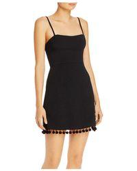 French Connection Pom Pom Trim Mini Dress - Black