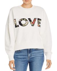 Tropical Love Patch Letter Sweatshirt White