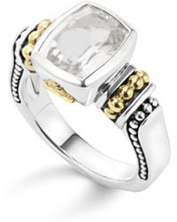 Lagos - 18k Gold And Sterling Silver Caviar Color Small Ring With White Topaz - Lyst