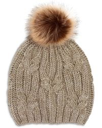 Echo Cable Knit Hat With Faux Fur Pom Pom - Brown