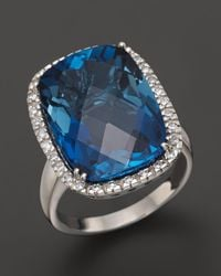 Bloomingdale's London Blue Topaz Cushion Ring With Diamonds In 14k White Gold