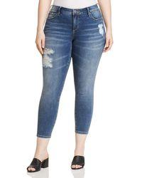 Slink Jeans Plus Distressed Skinny Ankle Jeans In Annie - Blue