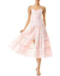 Alice + Olivia Shanti Eyelet Tiered Midi Dress - Pink