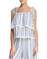 Lost + Wander - Lost + Wander Marina Tiered Lace-trimmed Striped Top - Lyst