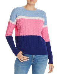 Aqua Cashmere Color - Block Cable - Knit Cashmere Sweater - Blue