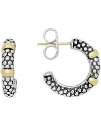 Lagos - 18k Gold And Sterling Silver Caviartm Beaded Hoop Earrings - Lyst