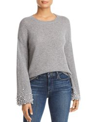 C By Bloomingdale's - Embellished - Cuff Cashmere Sweater - Lyst