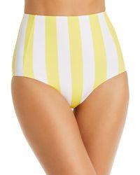 Verde Limon Banes Striped High - Waist Bikini Bottom - Yellow