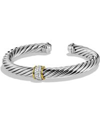 David Yurman - Cable Classics Bracelet With Diamonds & 18k Gold - Lyst