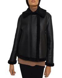 Theory Shearling Trim Leather Oversized Moto Jacket - Black