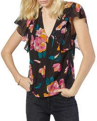 Joie Magin Ruffled Floral Print Top - Multicolor