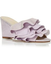 CREATURES OF COMFORT Women's Keira Ruffled Suede Wedge Slide Sandals 100% Authentic Sale Online Free Shipping Wiki 3fuS7qIOrf