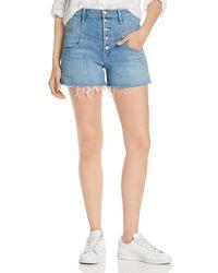Mother The Swooner High - Rise Front - Yoke Denim Shorts In Post No Bills - Blue