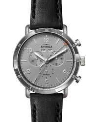 Shinola The Canfield Sport Chronograph Leather Strap Watch - Multicolour