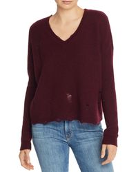 Aqua Cashmere Distressed V - Neck Cashmere Jumper - Purple