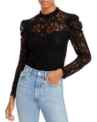 Aqua Lace Puff Sleeve Top - Black