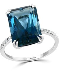 Bloomingdale's London Blue Topaz & Diamond Statement Ring In 14k White Gold